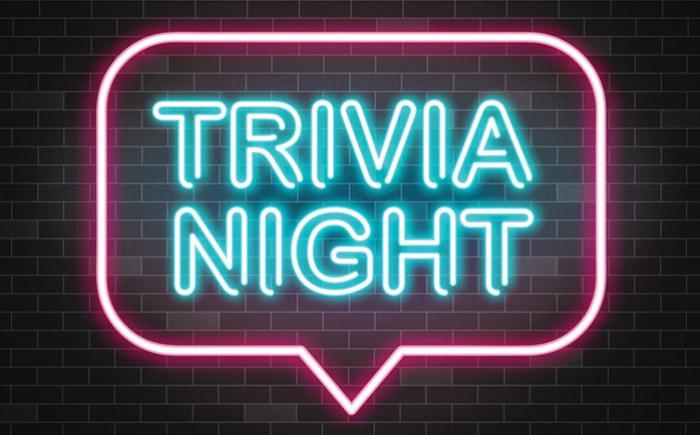 The words Trivia Night appear in a speech bubble in neon