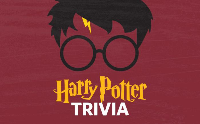 Face of a child wearing glasses above the words Harry Potter Trivia