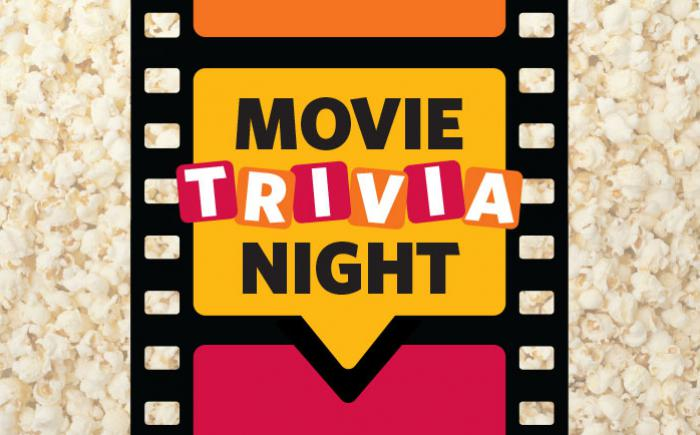 The words Movie Trivia Night appear on a film strip