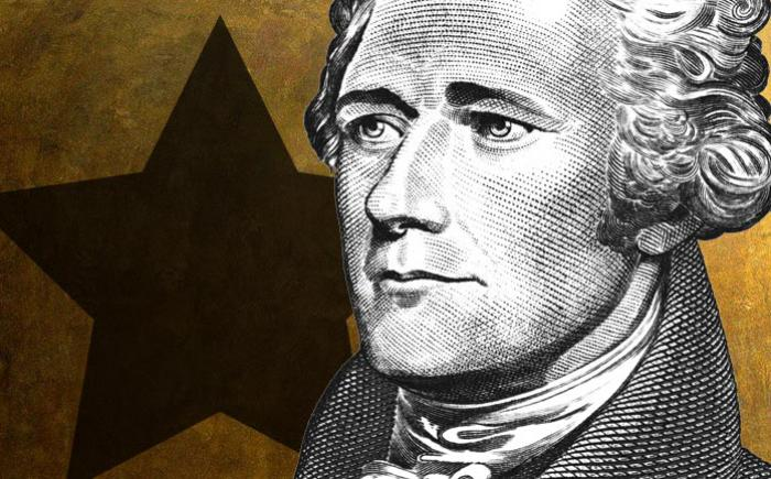 Engraving of Alexander Hamilton against a star background