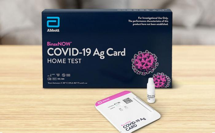 COVID-19 at-home test kit on a table