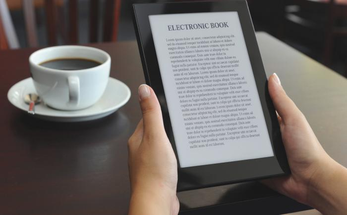 Hands holding e-book