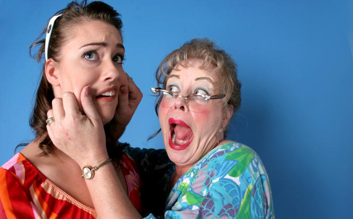 Older woman squeezing cheeks of younger woman