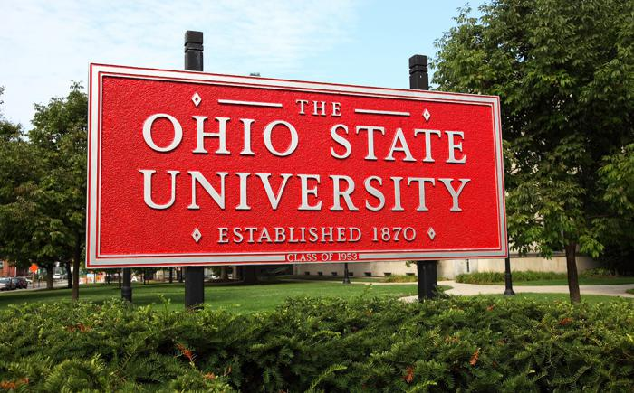 Outdoor photo of red Ohio State University sign