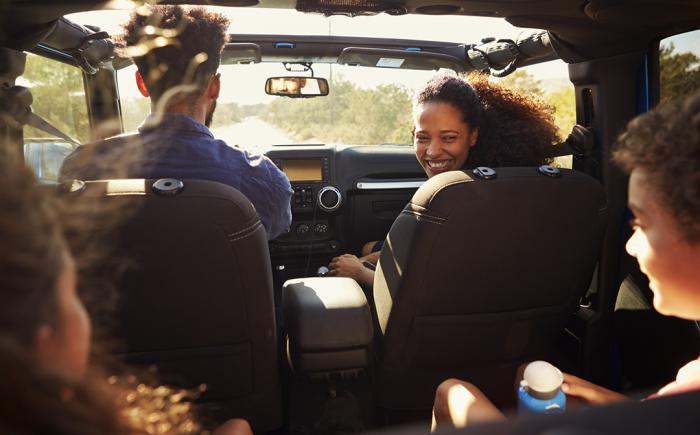 Family in a moving vehicle
