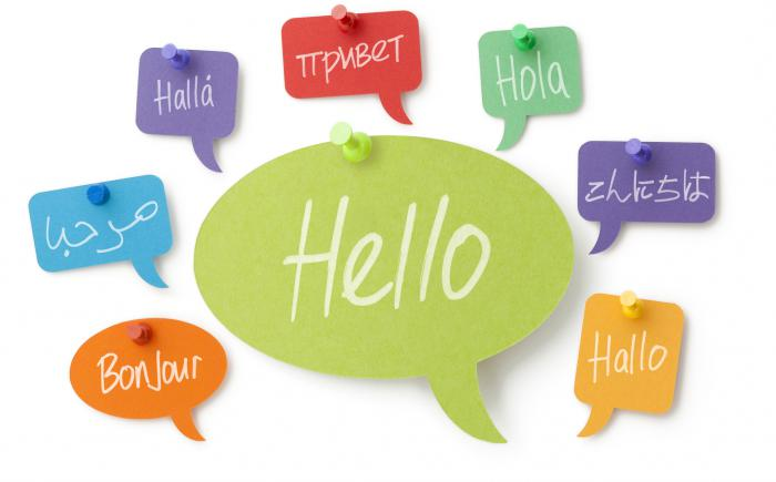 "Speech bubbles of the word ""hello"" in different languages"