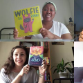 Video stills from booktalks with four staff members holding up books
