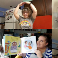 Video stills from storytimes with three staff members singing, reading and tell stories