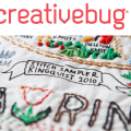 Embroidery sampler with Creativebug logo