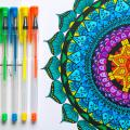 Geometric image next to several colored pens