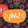 "Speech bubbles with the words ""hello"" and ""hola"""