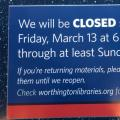 Worthington Libraries closed sign