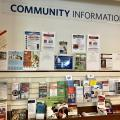 View of a community bulletin board at the library