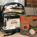 Clear backpack with picture book