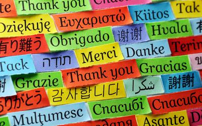 Colorful slips of paper with thank you written in many languages