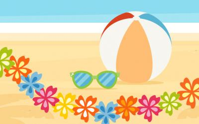A beach ball, pair of sunglasses and a lei on a beach