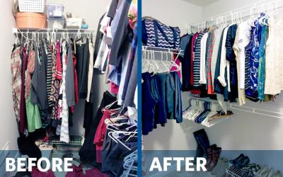 Before and after pictures of a messy, then tidy, closet