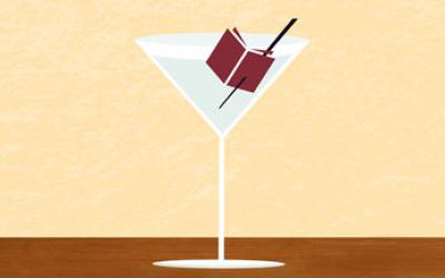 Martini with a book as garnish