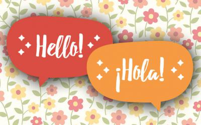 "Speech bubbles containing the words ""Hello"" and ""Hola"""