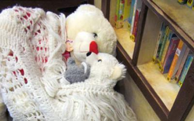 Stuffed animals wrapped in a blanket next to a bookcase