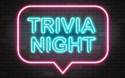 "The words ""trivia night"" in a neon-looking speech bubble"
