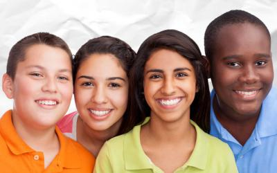 Group of multicultural teens