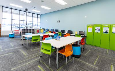Tables and chairs inside Homework Help Center