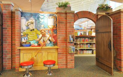 Character Homer Price (by Robert McCloskey) in the Story Garden at Northwest Library