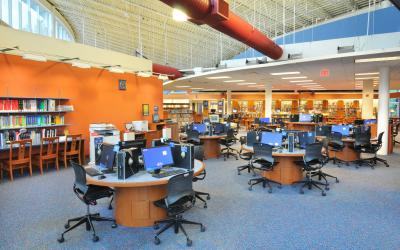 View of the technology area at Northwest Library