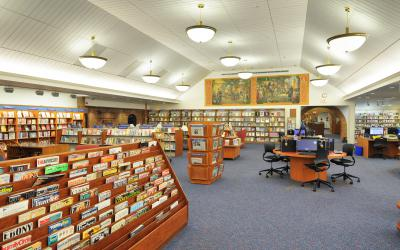 View of the current periodicals, computers and murals in the popular library