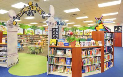 View of Story Park entrance at Worthington Park Library