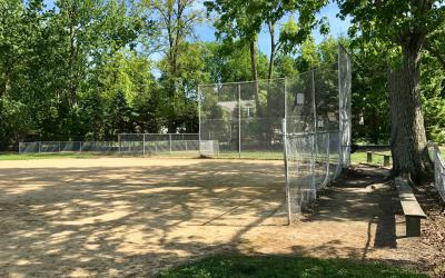 View of the ball field outside Old Worthington Library