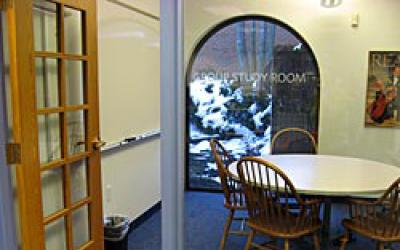 Looking inside the Downstairs Group Study Room