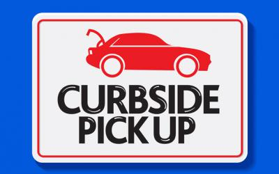 Curbside pickup sign with car with trunk open