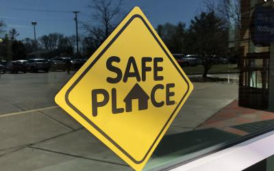 Safe Place sign at library entrance