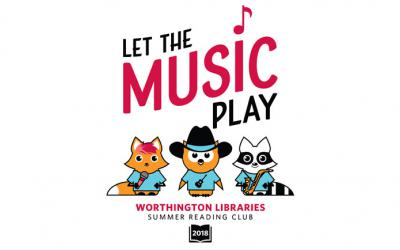 Let the music play logo featuring Asparagus Fox, Winston Owl and Rocky Raccoon