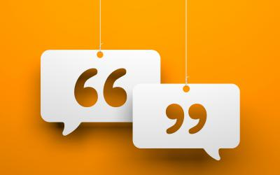 Quotation marks inside speech bubbles against orange background