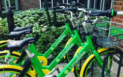 LimeBikes lined up outside Old Worthington Library