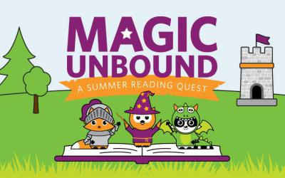 Magic Unbound logo featuring Asparagus Fox, Winston Owl and Rocky Raccoon