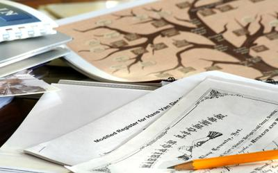 Genealogical documents with family tree